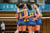 KAPOSVAR, HUNGARY - APRIL 24: Kaposvar players celebrate at the Hungarian NB I. League woman volleyb