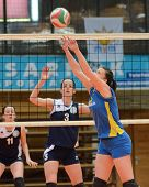 KAPOSVAR, HUNGARY - APRIL 24: Marianna Palfy (R) in action at the Hungarian NB I. League woman volle