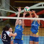 KAPOSVAR, HUNGARY - APRIL 24: Zsofia Harmath (blue 3) in action at the Hungarian NB I. League woman