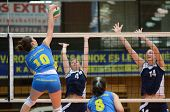 KAPOSVAR, HUNGARY - APRIL 24: Szandra Szombathelyi (blue 10) in action at the Hungarian NB I. League