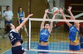 KAPOSVAR, HUNGARY - APRIL 24: Unidentified players in action at the Hungarian NB I. League woman vol