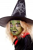 Portrait Of Green Halloween Witch