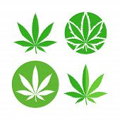Green Marijuana Leaf Symbol Set. Cannabis Icon, Weed Icon Set poster