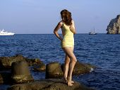The beautiful girl, has come on a beach i