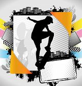 Abstract Summer Frame With Skateboarder Silhouette