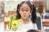 Innovative Creative Idea For Copyrights Law Concept With Kid Surprised Reading Book With Lightbulb I poster