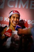 KUALA LUMPUR, MALAYSIA - MARCH 18: World #1 Nicol David (Malaysia) speaks to the press after winning her quarterfinal game at the CIMB KL Open Championship on March 18, 2011 in Kuala Lumpur, Malaysia.
