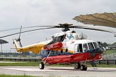 SEPANG - JUNE 17: A rescue helicopter from the Fire Department parks on standby in the Sepang Intern