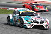 SEPANG, MALAYSIA - JUNE 19: The BMW Z4 of GSR&Studie with TeamUKYO accelerates into turn 2 of the Se