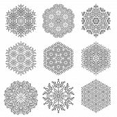 Set Of Vector Snowflakes. Fine Winter Ornaments. Snowflakes Collection. Black And White Snowflakes F poster