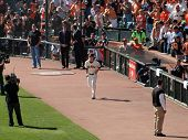 Giants Pitcher Tim Lincecum Runs On To Field During Introductions