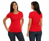 pic of t-shirt red  - Young female with blank red t - JPG