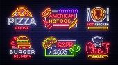 Food Neon Sign Vector Collection. Set Neon Logos, Emblems, Symbols, Pizza House, American Hot Dog, H poster