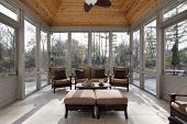 image of screen-porch  - Porch in luxury home with wood ceiling - JPG
