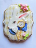 Glazed Gingerbread  As A White Rabbit With A Golden Clocks From Fairy Tale Is On A White Background, poster