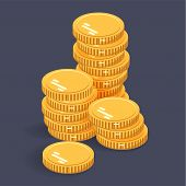 Gold Stack Coins. Vector Isometric Money Icon On A Colored Background. Money Flat Icon In Isometric  poster