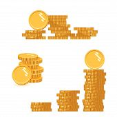 Coins Stack Set Vector Illustration, Icon Flat Finance Heap, Dollar Coin Pile. Golden Money Standing poster