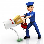 3D mailman delivering the mail - isolated over white