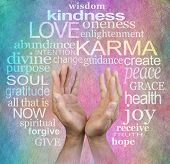 The Circle Of Love And Karma Wisdom And Hands On Parchment  -   Male Healers Outstretched Open Hands poster
