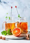 Traditional Iced Tea With Orange And Mint And Ice In Mason Jars . Refreshing Summer Drink On White M poster