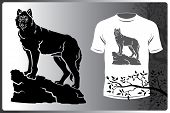 Vector Isolated Silhouette Animal Wolf Logo Image. Print On T-shirt Or A Wolf Logo poster