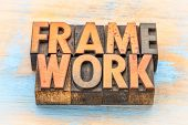 framework word abstract in vintage letterpress wood type poster