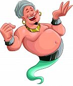 stock photo of genie  - happy fat genie smiley in the moment when he appears - JPG