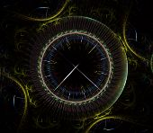 Futuristic Modern Clock Watch Abstract Fractal Surreal. Unusual Abstract Texture Pattern Fractal Bac poster
