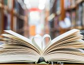 Love Story Book With Open Page Of Literature In Heart Shape And Stack Piles Of Textbooks On Reading  poster