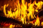 Log Fire In A Fireplace. Burning And Glowing Pieces Of Wood In Fireplace. poster