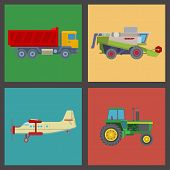 Agriculture Harvest Machine Vector Industrial Banner Farm Equipment Tractors Transport Combine And M poster