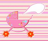 Colorful flowers perambulator for baby girl sample