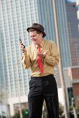 Upset Businessman With Cellphone