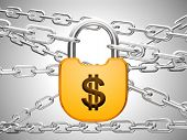 Dollar Safety Concept: Padlock And Chains