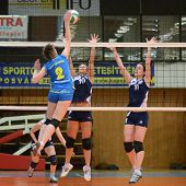 KAPOSVAR, HUNGARY - APRIL 24: Zsanett Pinter (blue 2) in action at the Hungarian NB I. League woman
