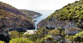 Panoramic view of Stiniva bay, island Vis, Croatia