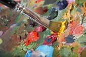 pic of abstract painting  - Painting paintbrush on colorful painting palette - JPG