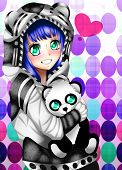 Anime Girl With A Sweater And Stuffed Animal. poster
