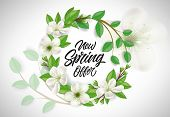 New Spring Offer Lettering In Flower Wreath. Promotion Design Element. Handwritten Text, Calligraphy poster