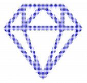 Diamond Halftone Vector Icon. Illustration Style Is Dotted Iconic Diamond Symbol On A White Backgrou poster