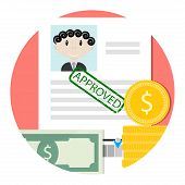 Icon Of Approved Loan Or Credit. Mortgage And Loan, Credit Approve, Mortgage Concept And Home Loan I poster