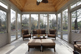 stock photo of screen-porch  - Porch in luxury home with wood ceiling - JPG