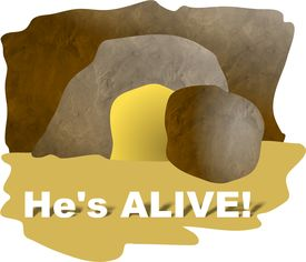 foto of empty tomb  - Easter illustration - JPG