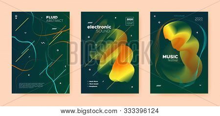 poster of Techno Music Poster. Abstract Gradient Blend. Night Club Festival. Dj Invitation. Green Dance Music