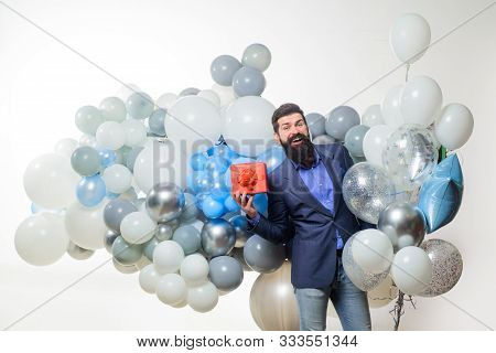 poster of People, Joy, Birthday, Celebration. Handsome Man Celebrating Something. Bearded Man In Suit Holds Bi