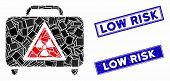 Mosaic Dangerous Luggage Icon And Rectangular Stamps. Flat Vector Dangerous Luggage Mosaic Icon Of R poster
