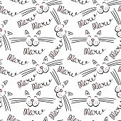 Seamless Pattern With Meow Lettering And Cat Face. Black Hand Drawing With Pink Details On White Bac poster