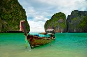 picture of unique landscape  - Beautiful traditional long tail boat at maya bay - JPG