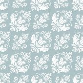 Classic Seamless Vector Light Blue And White Pattern. Damask Orient Ornament. Classic Vintage Backgr poster