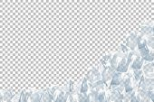 Translucent Ice And Snow Crystal Heap. Vector Illustration. Iced Bricks. poster